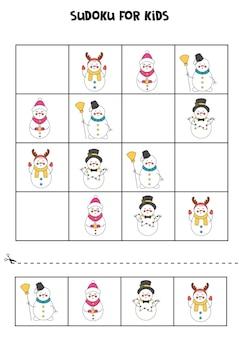 Jeu de sudoku pour les enfants avec de jolis bonhommes de neige de dessin animé.
