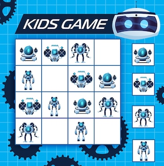 Jeu de sudoku pour enfants avec des robots, énigme vectorielle avec des personnages de dessins animés ai cyborgs, humanoïdes et androïdes sur un damier. labyrinthe logique pour enfants, puzzle pour les loisirs, jeu de société avec cartes