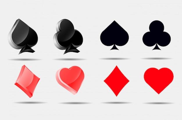 Jeu de symboles de cartes à jouer pokers collection as
