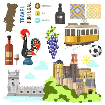 Jeu de symboles de culture portugal. europe travel direction lisbonne.