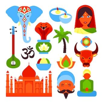 Jeu de symboles de l'inde
