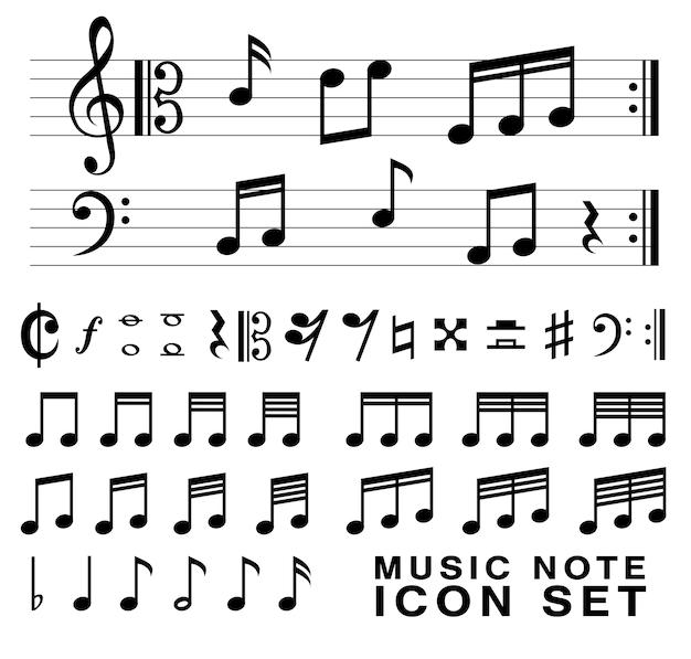 Jeu de symboles de notes de musique standard