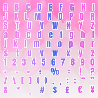 Jeu de symboles de numéro alphabet dégradé