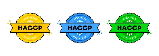 Jeu de tampons haccp. vecteur. icône d'insigne haccp. logo de badge certifié. modèle de timbre. étiquette, autocollant, icônes. vecteur eps 10. isolé sur fond blanc.