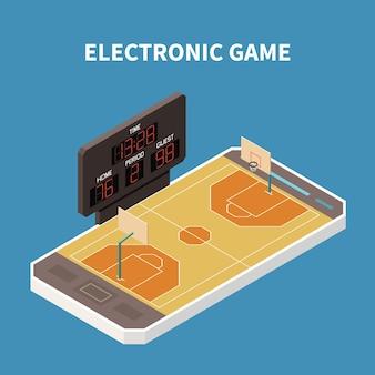 Jeu de terrain de sport de basket-ball sur illustration 3d de composition isométrique de smartphone