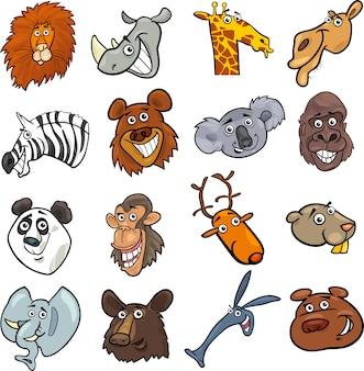 Jeu de têtes de dessin animé animaux sauvages