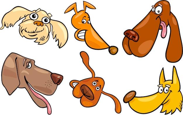 Jeu de têtes de dessin animé heureux chiens