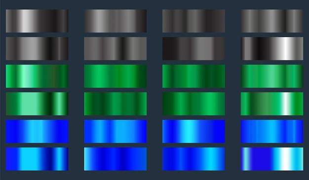 Jeu de texture métallique noir, vert et bleu. collection de fonds de dégradés de couleurs