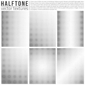 Jeu de textures halphtone vectorielles. structure en demi-teinte analogique.