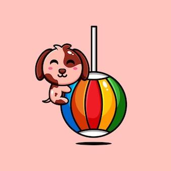 Jeu sur le thème de la conception de personnages de chiots mignons avec des boules