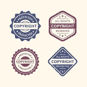 Jeu de timbres de droit d'auteur vintage