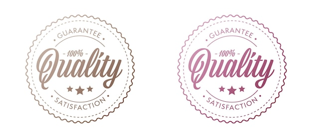 Jeu de timbres de garantie. autocollant de satisfaction de qualité supérieure.