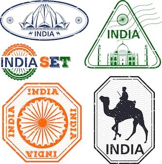 Jeu de timbres de l'inde. dessin simple. symboles de l'inde. illustration