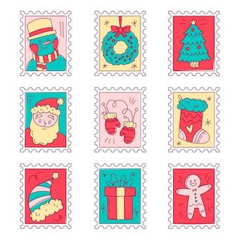 Jeu de timbres de noël dessinés à la main