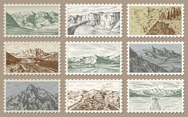 Jeu de timbres post vintage