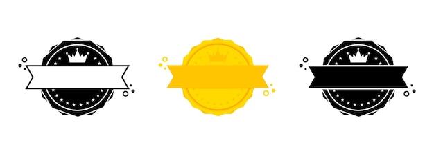 Jeu de timbres vierges. vecteur. icône de badge vierge. logo de badge certifié. modèle de timbre. étiquette, autocollant, icônes. vecteur eps 10. isolé sur fond blanc.