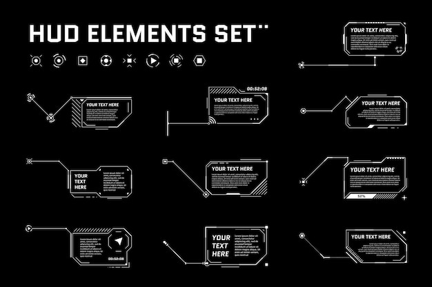Jeu de titres de légende futuriste numérique hud. appelez les étiquettes de barre de cadre de science-fiction. modèle de mise en page de boîte d'informations numériques moderne de présentation ou d'infographie. élément de style gui d'interface hud ui. illustration vectorielle