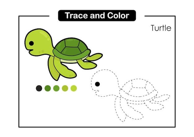 Jeu de trace et de couleur pour les enfants avec la tortue mignonne de la vie des animaux marins