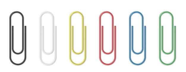 Jeu de trombone réaliste. des trombones colorés sur des modèles isolés de fond blanc. agrafes pour attacher les documents et fournitures scolaires. illustration vectorielle