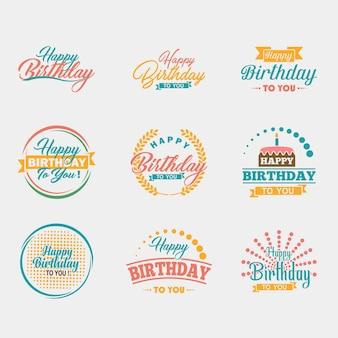 Jeu de typographie joyeux anniversaire