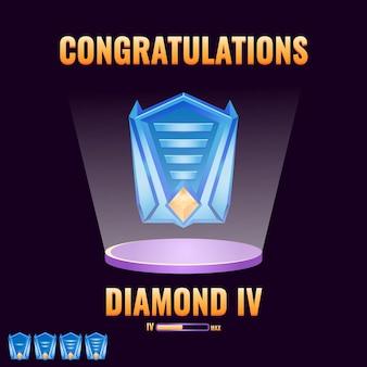 Jeu ui diamond classé niveau up interface jeu éléments d'actif de l'interface utilisateur