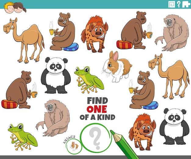 Jeu unique pour les enfants avec des animaux de dessin animé mignons