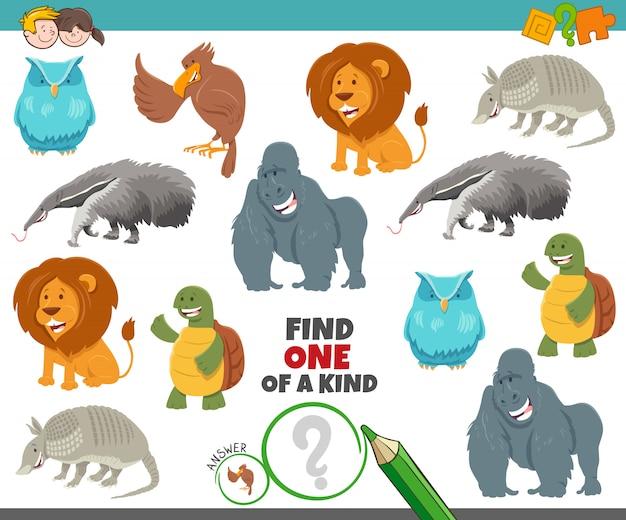 Jeu unique pour les enfants avec des animaux de dessin animé