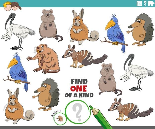 Jeu unique pour les enfants avec des animaux drôles de dessins animés