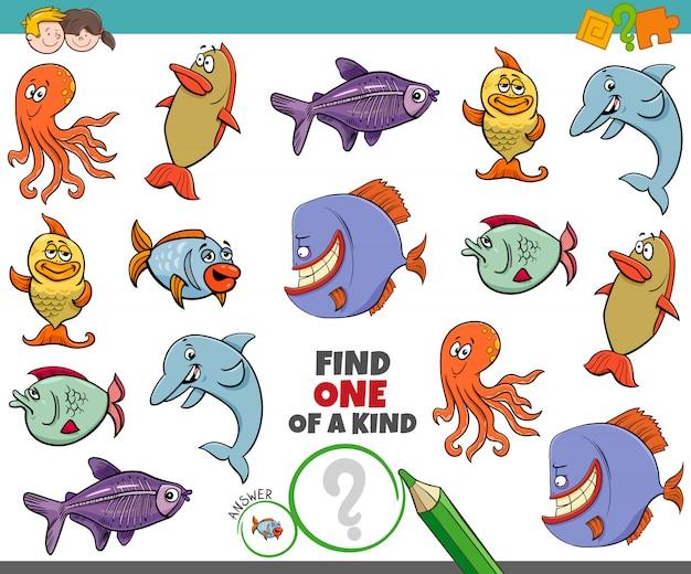 Jeu unique pour les enfants avec des animaux marins