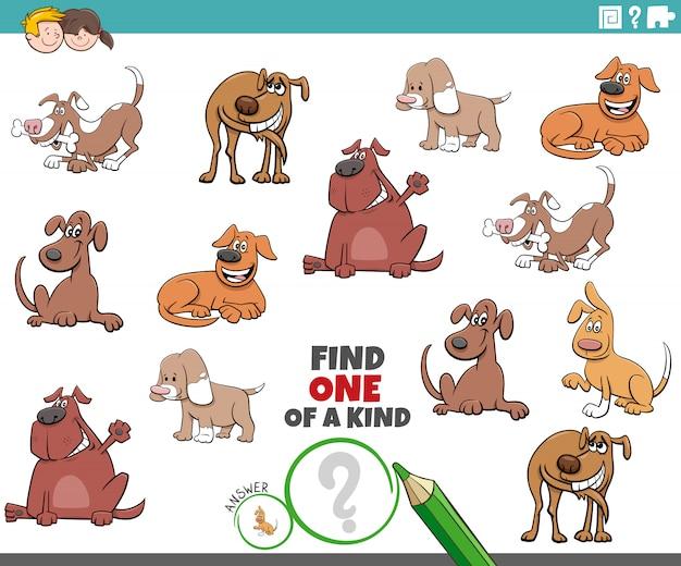 Un jeu unique pour les enfants avec des chiens drôles
