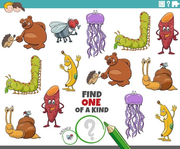 Jeu unique pour les enfants avec des personnages de dessins animés