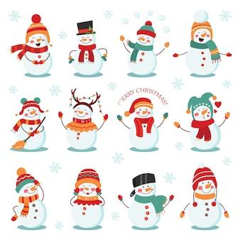Jeu de vacances d'hiver bonhomme de neige. joyeux bonhommes de neige en costumes différents.
