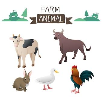Jeu de vecteur d'animaux de ferme