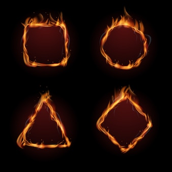 Jeu de vecteur cadre feu flamme chaude
