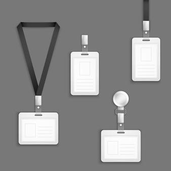 Jeu de vecteur de cartes d'identité en plastique blanc vide d'identification