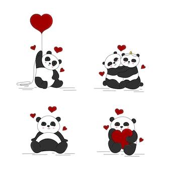Jeu de vecteur de dessin animé de pandas