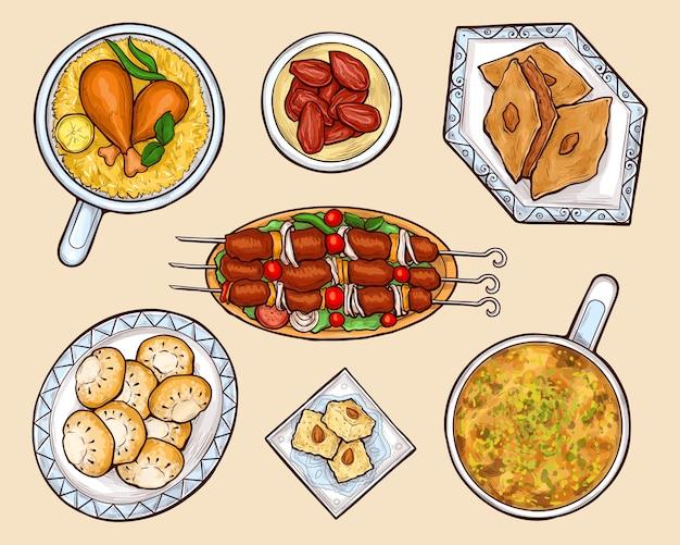 Jeu de vecteur de dessin animé plats cuisine orientale