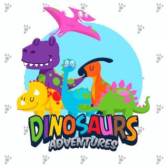Jeu de vecteur de dinosaures mignons
