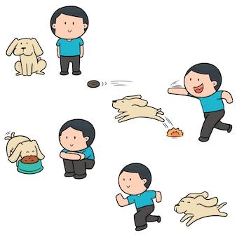Jeu de vecteur d'homme et chien