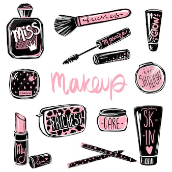 Jeu de vecteur de maquillage. éléments de beauté cosmétiques. belle illustration de mode