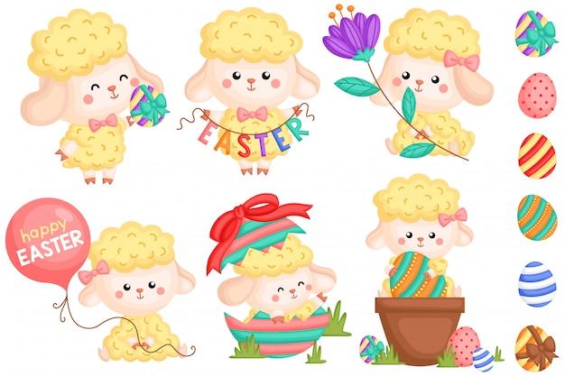 Jeu de vecteur de moutons de pâques girly