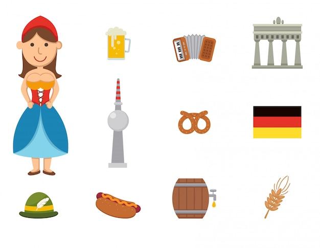 Jeu de vecteur symbole allemand