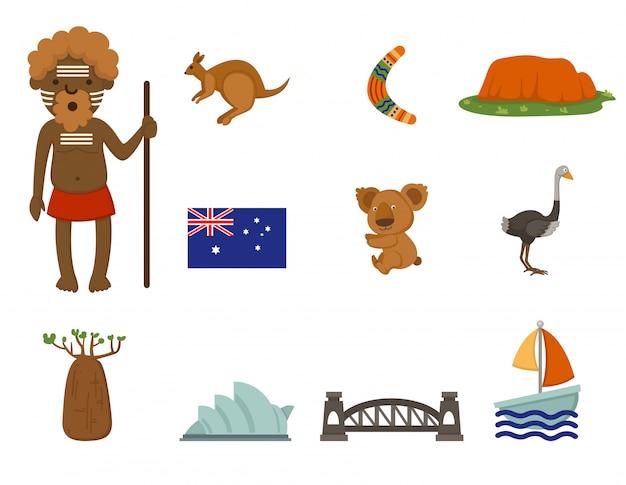Jeu de vecteur symbole australien