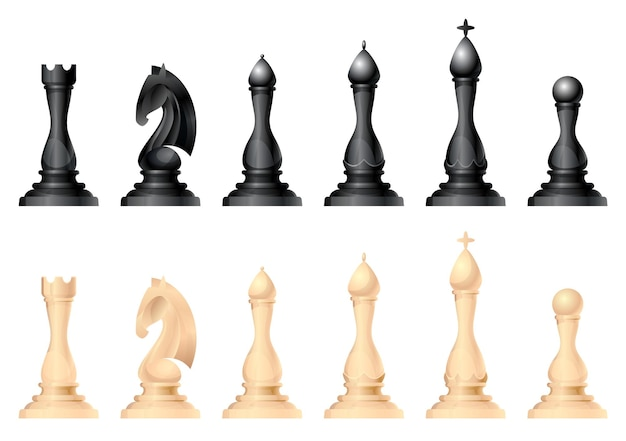 Jeu de vecteurs de figures d'échecs. roi, reine, fou, chevalier ou cheval, tour et pion - pièces d'échecs standard. jeu de plateau stratégique pour le loisir intellectuel. articles en noir et blanc.