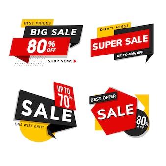 Jeu de vente annonces de promotion de vente vecteur