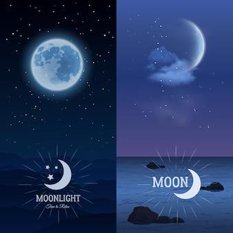 Jeu vertical de bannières au clair de lune