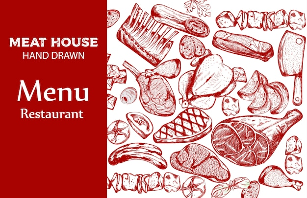 Jeu de viande au trait avec saucisse, steak, côtes de porc et couteau de boucher