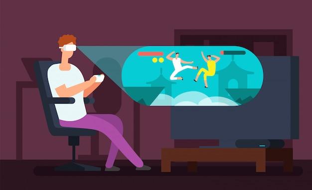 Jeu vidéo homme assis dans un fauteuil et jouer à un jeu virtuel en utilisant l'illustration vectorielle de casque vr
