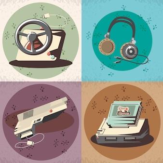 Jeu vidéo rétro set icônes vector illustration design