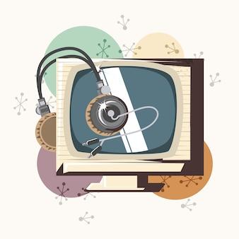 Jeu vidéo rétro avec tv vector illustration design